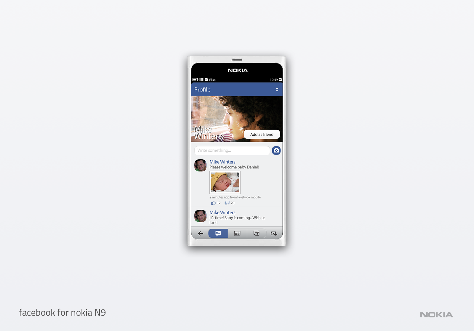 Nokia N9 facebook app
